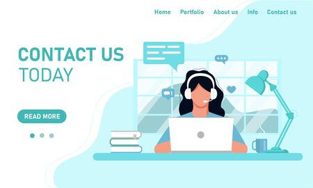 Concept template web site and banner chat customer service customer support. Girl in headphones operator working on a laptop working from home office, online training. Flat style, vector graphics