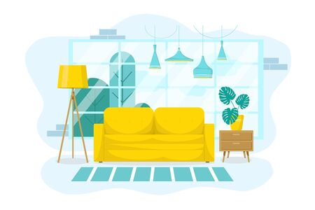 Interior design of a living room with furniture, a large window, a yellow sofa, a floor lamp with flowers and a stand on an isolated white background. Flat style. Pastel blue. Vector illustration Vectores