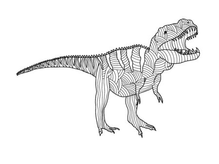 Stylized predatory dinosaur tyrannosaurus coloring page on a white background. Antistress and development for children and adults. Stock Illustratie