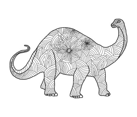 Stylized herbivore dinosaur coloring page diplodocus on an isolated white background. Anitstress and development for children and adults. Print on fabric. Vector stock illustration. Stock Illustratie