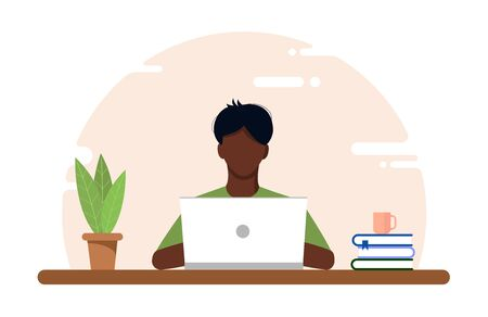 Work at home concept, coworking space flat illustration. Masked young guy an European african freelancer working at a table on a laptop during Covid-19 quarantine. Vector flat style self employed.