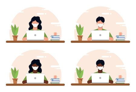 Work at home concept, coworking space flat illustration. Masked young people, men and women, freelancers working at home. Home office in crisis Covid-19. Vector flat style self-employed illustration. Illustration