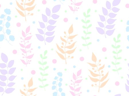 Vector seamless botanical pattern with leaves and tsetos on a white background. Repeating element silhouettes. Print on fabric baby clothes, banner for social networks. Isolated colorful branches.