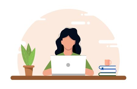 Work at home concept, coworking space flat illustration. Young girl freelancer working at a table on a laptop at home. Home office in crisis Covid-19. Vector flat style self-employed illustration Illustration