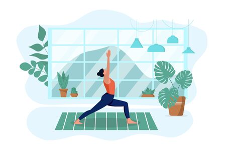 The girl practices yoga in the living room on the rug at home. He does exercises and meditates. Isolated white background. The concept of interior design and a healthy lifestyle. Vector illustration