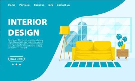 Vector living room interior design concept. Room with a sofa, bedside table, floor lamp, flower and large window. Flat style stock illustration. Template for web site, app design in blue colors. Vektorgrafik