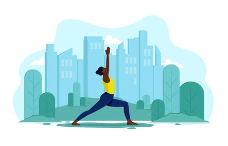 A young, flexible, slender girl of African appearance does yoga outdoors in a park. Vector concept of healthy lifestyle and outdoor sports. Girl on the background of the city and trees makes exercises