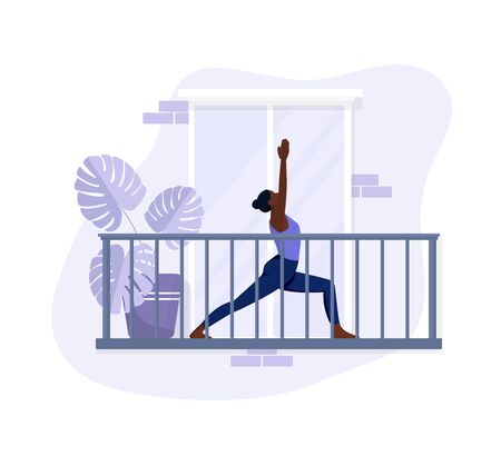 African American girl does exercises on the balcony, exercises yoga and relaxes. Flat style in violet colors. Vector illustration on an isolated white background. Sport and healthy lifestyle concept.