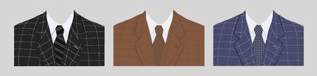 Vector set of jackets with ties for men in different colors with a stitch on a gray background. Stock illustration, template for greeting card and design of a clothing store. Business flat style.