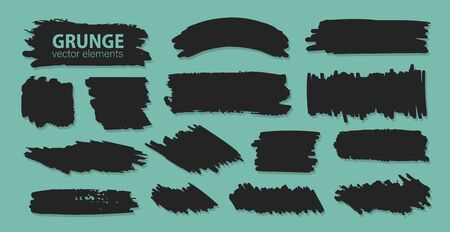 Collection of black spots, brush strokes in grunge style. Banners, logos, badges and stickers for inscriptions, discounts and promotions. Monochrome abstract spots on a gilded green background. Vector 免版税图像 - 150514308