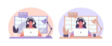 Vector home work concept on isolated white background. A girl in headphones sits at a table and works as an operator, answers messages in a call center. Stock graphics for dizan site and application