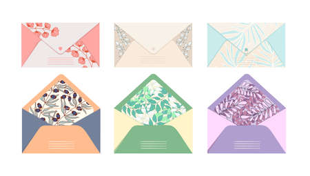 Vector set of mail envelopes vie postcards for letters with floral beautiful print on an isolated white background. Mail delivery concept. Closed and open envelope bright and colorful color and design