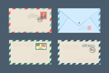 Vector set of isolated postal envelopes and postcards with postage stamps. The concept of sending and receiving parcels and letters of love, New Years envelope and Valentines Day. Stock Graphics