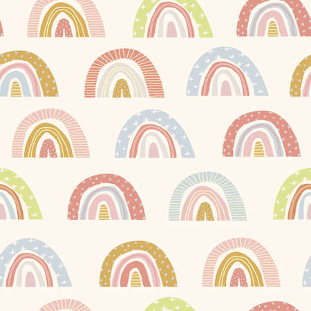 Vector seamless pattern of cute cartoon rainbows on an isolated white background. Hand drawn rainbow. Illustration of children on a greeting card, a print on fabric, clothes and wrapping paper. Flat Vettoriali