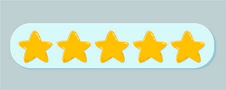 Vector isolated illustration of a rating of five golden stars. Feedback, reputation and quality concept of products, goods and services. Customer service, flat icon for apps and websites. Stock Illustration