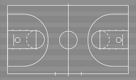 Isolated basketball court ball game on a gray field with parquet. Competitive sport on the site. Stadium with markings. Vector stock graphics. To plan a strategy for sites and applications.