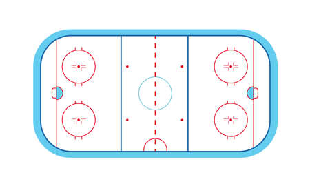 Ice hockey field with puck and stick on an isolated white background. Winter sport on ice. Stadium with markings. Vector stock graphics. For website and application design.