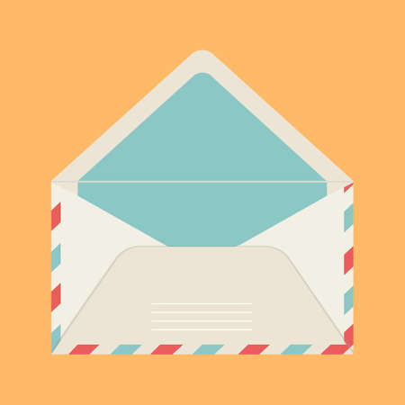 Vector greeting card and beige color mail envelope on yellow isolated background. For letters, valentines and invitations. Template for website and print. Stock illustration