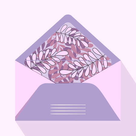 Vector postal open envelope and postcard with floral print on isolated background. Purple envelope for sending letters and mail, congratulations. Modern design for print.