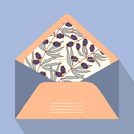 Vector postal open envelope and postcard with floral print on isolated background. Orange envelope for sending letters and mail, congratulations. Modern design for print. Vectores