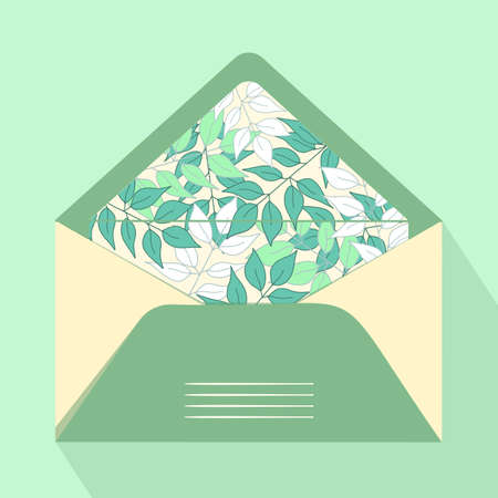 Vector postal open envelope and postcard with floral print on isolated background. Green envelope for sending letters and mail, congratulations. Modern design for print.