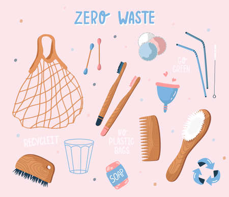 Vector collection of zero waste and reusable items. Eco grocery bags, hygiene items, wooden cutlery, menstrual cup, soap. Flat style, stock illustration. Eco mesh bag for groceries. Hand drawn style