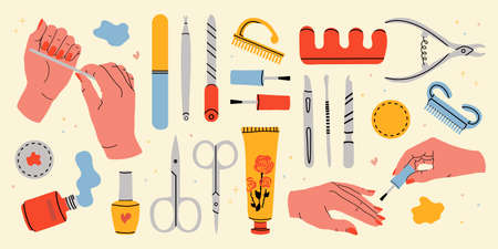 A large set of manicure tools. Gentle female hands with manicure. Collection of equipment for manicure and hand care. Color vector stock art. Nail file, cotton pad, hand cream, scissors, gel polish Vecteurs