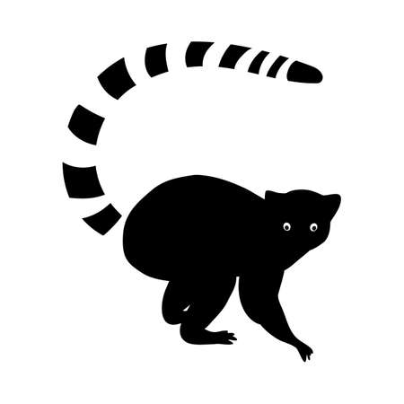 Lemur black sealeet. Exotic tropical animal on a white isolated background. Cute funny lemur with a striped tail. Vector stock illustration in cartoon style.