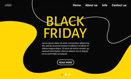 Black Friday. Abstract website template for goods and services, super discounts. Universal background for posters, banners, flyers, postcards, special offers, advertisement. Vector stock illustration