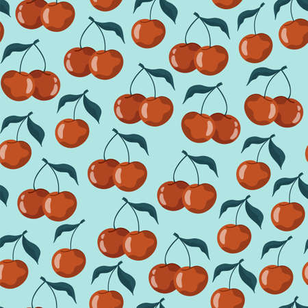 Seamless pattern with cherries and sweet cherries on a pastel blue background. Vector stock illustration. For wrapping paper design and social media. Cute childish drawing. Hand-drawn style.