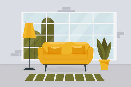 Stylish living room interior with furniture and a large window. Design of a cozy room with a sofa, indoor flowers. Flat style. Vector stock illustration. Comfortable room in yellow colors.