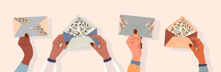 Hands are holding envelopes. Post and greeting cards for letters. modern design for websites and applications. Hands of different nationalities. Vector stock illustration. Gentle female hands. Ilustracja