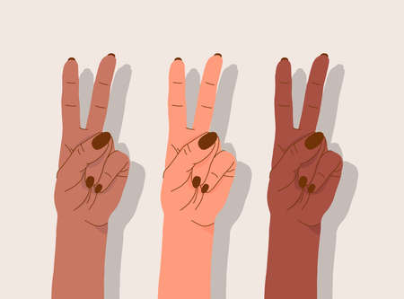 Multinational female hands. Diverse nationalities. Female power concept. Delicate feminine fists. Stock colorful illustration. Nursing and support concept. Hand-drawn style. Zdjęcie Seryjne
