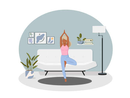 Sport exercise at home. Woman doing workout indoor. Yoga and fitness, healthy lifestyle. Trendy vector illustration in flat cartoon style. Girl meditates. Meditation at Home. Happy body positive.