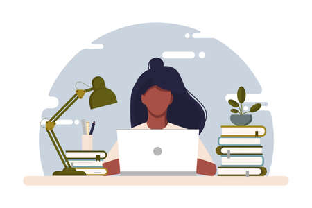 Girl with laptop sitting on the chair. Freelance or studying concept. Work at home. Vector stock illustration. Coworking. Cute illustration in flat style. Online study, education. African American. Illusztráció