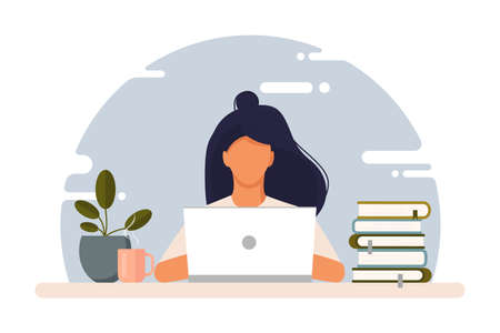 Girl with laptop sitting on the chair. Freelance or studying concept. Work at home. Vector stock illustration. Coworking. Cute illustration in flat style. Online study, education. Vettoriali