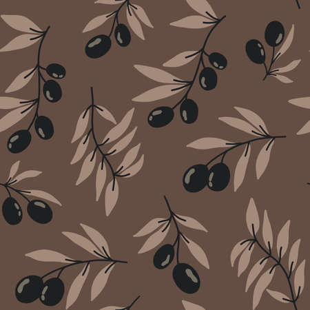 Vector seamless pattern with black olives on a brown background. Stock illustration. Prints on fabric, printed matter and wrapping paper. For greeting cards. Vector Illustratie
