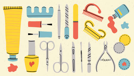 Vector set of manicure tools. Various manicure accessories. Nail scissors, nail file, tweezers, nail polish, hand cream, polish remover, brush etc. Hand-drawn style. All elements are isolated.