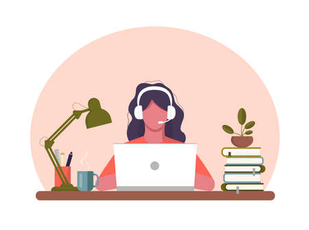 Girl with laptop sitting on the chair. Freelance or studying concept. Work at home. Vector stock illustration. Coworking. Cute illustration in flat style. Online study, education. African American.