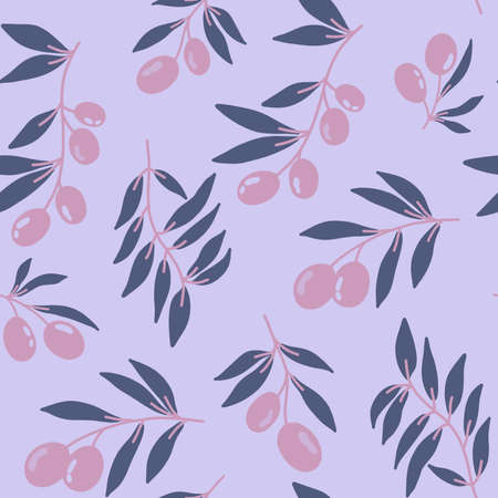 Seamless pattern of red olive branches background elements. Vector stock illustration. Prints on fabric, printed matter and wrapping paper. For greeting cards.