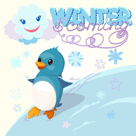 move: color illustration with child penguin with winter congratulation for Merry Christmas and Happy New Year. Hand-written text