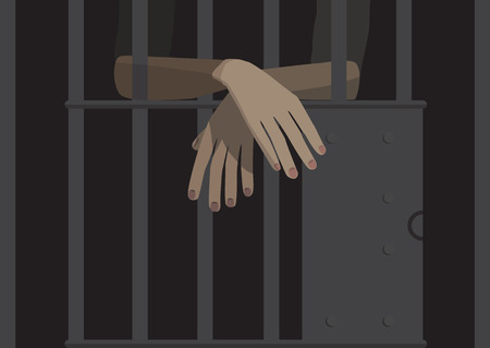 jail: illustration of person in the jail Illustration