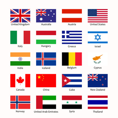 Simple flags of the countries. Flags icons in flat style with sign