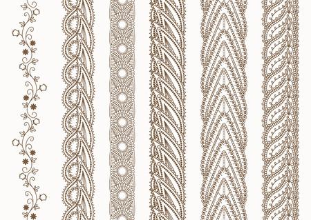 Ornamental Indian Henna Naadloos Grenzen voor etnische Decor Vector Illustratie