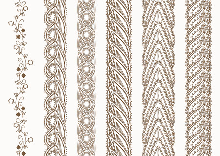 ornate border: Ornamental Indian Henna Seamless Borders Set for Ethnic Decor