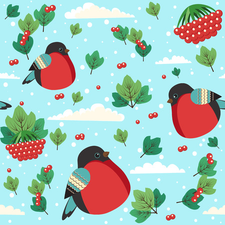 mountain ash: seamless bullfinch background with clouds, mountain ash and snow. Can be used for Merry Christmas and New Year design.