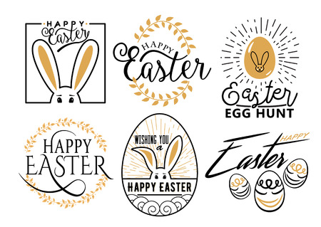 Easter wishes overlays, lettering labels design set. Retro holiday easter badges isolated on white background. Happy easter lettering modern calligraphy style