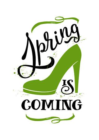 springtime: Spring is coming for wallpaper or print,spring design, springtime ,spring text,spring lettering, spring art Illustration