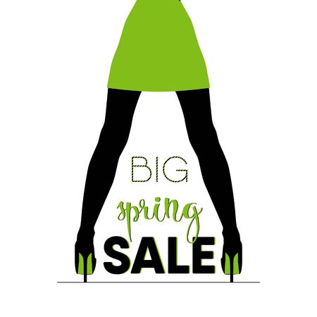 shoe store: Big spring sale. Spring modern calligraphy. Isolated on white for easy use. Black and green color illustration. Spring sale for poster. It can be used for a shoe store Illustration