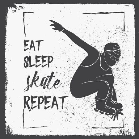 rollers: Eat Sleep Skate Repeat. Motivation Quote. Poster Concept. Rollers sport brochure